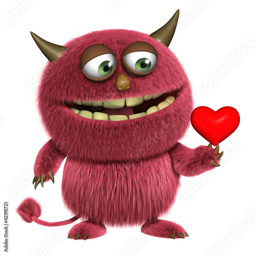 Poster Sweet Monsters red hairy alien