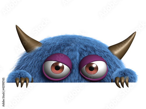 Foto auf Leinwand Nette Monster cute furry alien