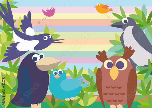 Poster Oiseaux, Abeilles Background with birds