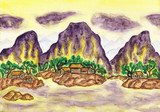 Violet mountains on yellow, painting