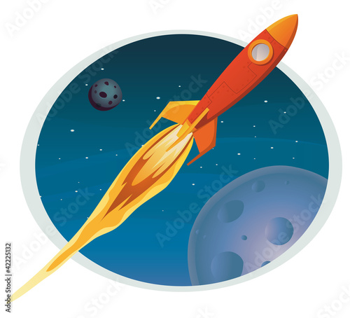 Staande foto Kosmos Spaceship Flying Through Space Banner
