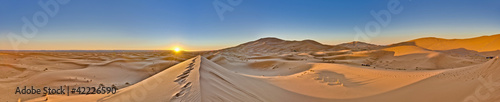Sun rises over Erg Chebbi at Morocco