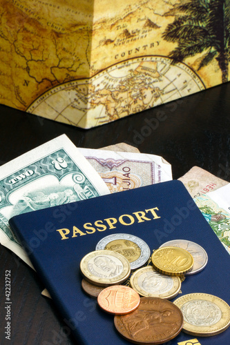 Pport With Foreign Currency On Wood Table
