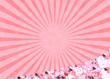 Pink Hearts And Sun Rays Backg...
