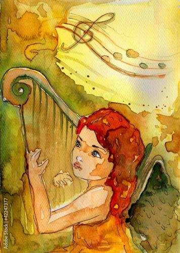 Wall Murals Painterly Inspiration aniołek gra na harfie