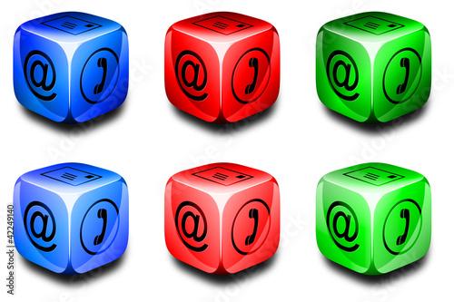 Fotografija  Symbolwürfel Kommunikation rot, grün, blau