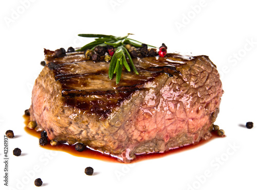 Papiers peints Steakhouse Beef steak medium grilled, isolated on white background