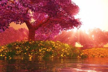 Obraz na Plexi Do biura Mysterious Cherry Blossom Trees Japanese Garden 3D render