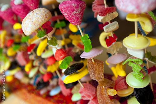 Keuken foto achterwand Snoepjes Bonbons, sucre, confiserie, gourmandise, brochette