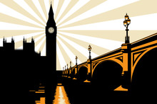 Art Deco Big Ben London Illust...