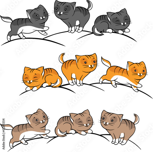 Collection of cute funny cats vector set.