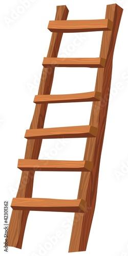 Fotografie, Obraz An illustration of a wooden ladder on white