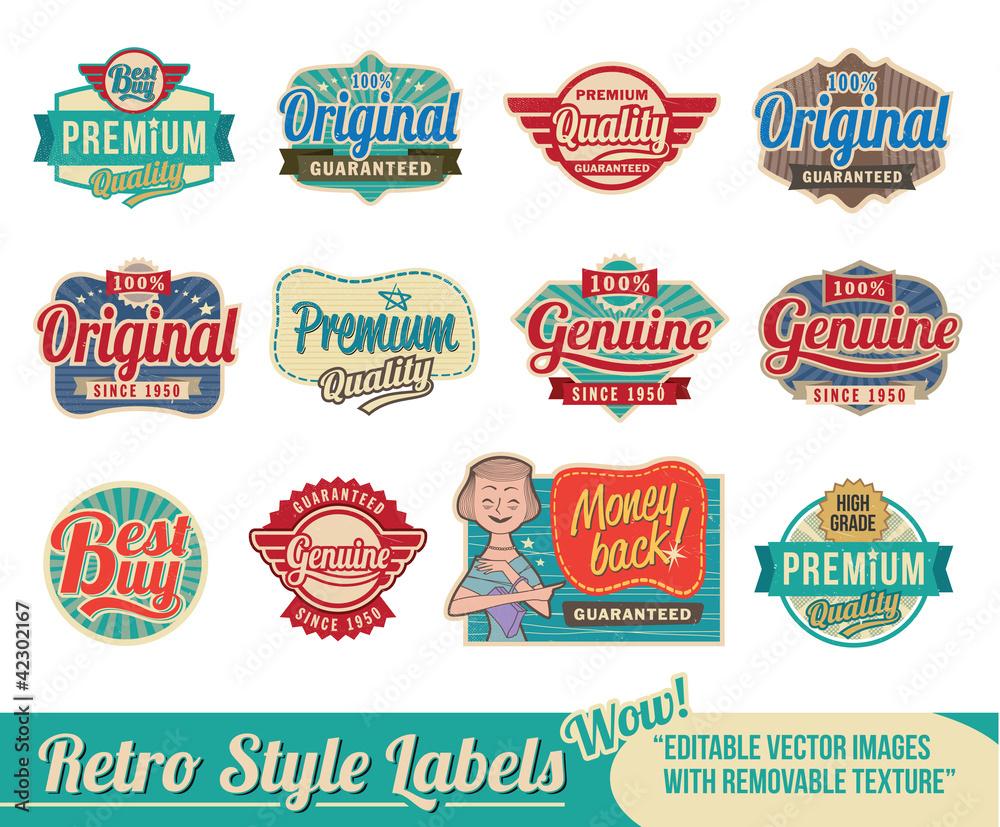 Fototapety, obrazy: Retro vintage labels