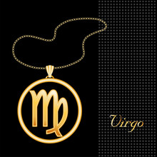 Virgo Necklace And Chain, Gold...