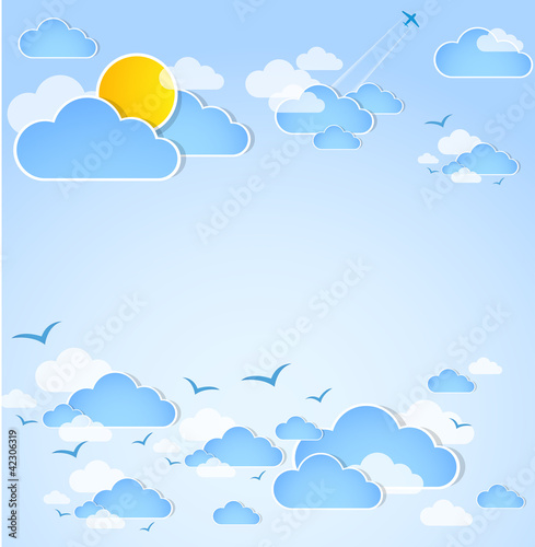 Poster Ciel Good weather. Blue sky with clouds.