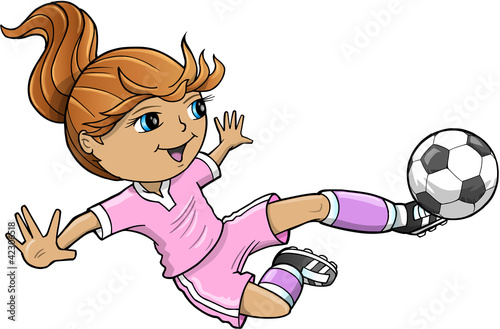 Poster Cartoon draw Sports Summer Soccer Girl Vector Illustration