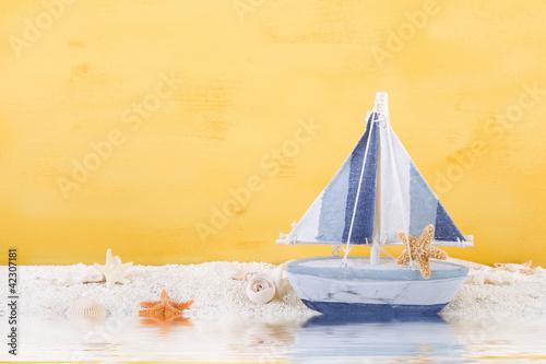 Printed kitchen splashbacks Indians Maritime Dekoration in Gelb, Weiß und Blau