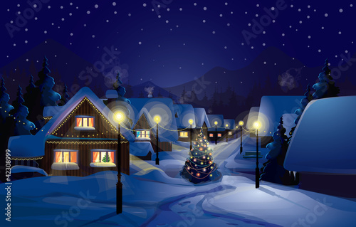 Photo Stands Night blue Vector of winter landscape.