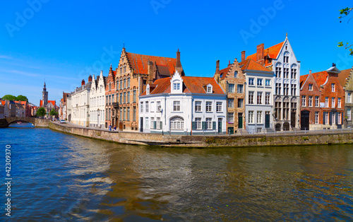 Wall Murals Bridges canal and houses at Bruges, Belgium