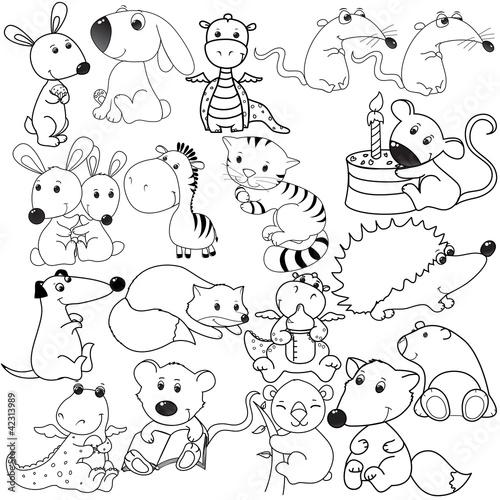 Spoed Foto op Canvas Doe het zelf big set of animals contours, coloring book