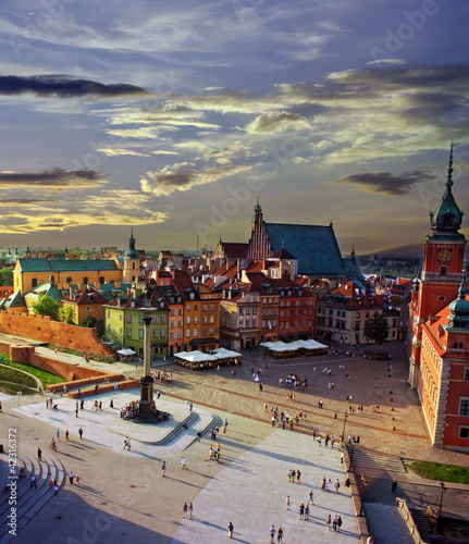 Warsaw castle square and sunset - 42316372