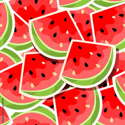 Foto op Canvas Draw Seamless background with watermelon