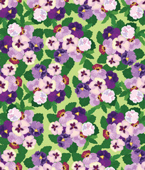 Fototapetaseamless pattern with lilac and violet pansy, background