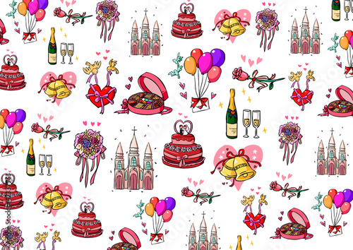 Deurstickers Uilen cartoon Wedding collection