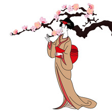 Vector Background With A Japan Girl