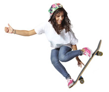 Skateboarder Woman Jumping Iso...