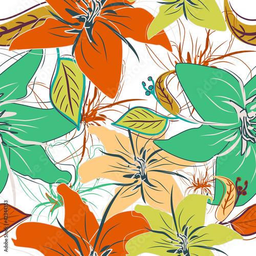 Keuken foto achterwand Abstract bloemen Seamless floral pattern