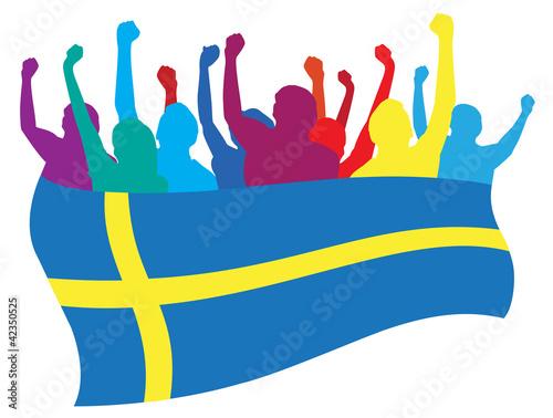 Photo  Sweden fans vector illustration