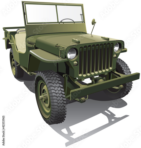 La pose en embrasure Militaire army jeep