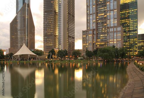 Cityscape of Shanghai Lujiazui international financial center Poster