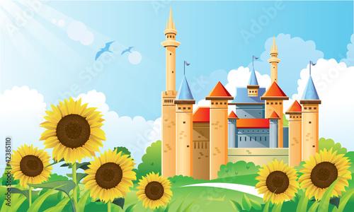 Poster Castle Summer Castle Background