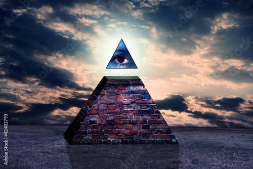 Plissee mit Motiv - New world order pyramid of illuminati