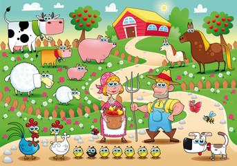 Obitelj s farme. Smiješni crtić i vektorska ilustracija.