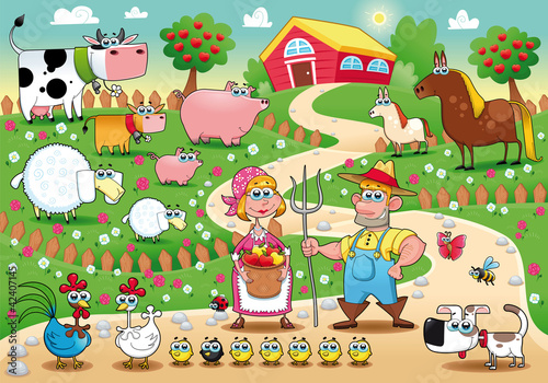 Poster Ranch Farm Family. Funny cartoon and vector illustration.
