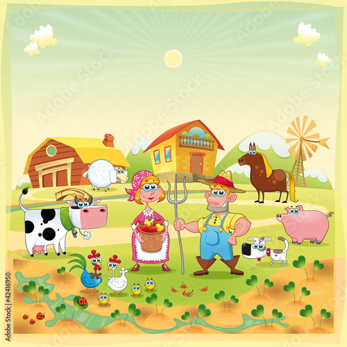 In de dag Boerderij Farm Family. Funny cartoon and vector illustration.