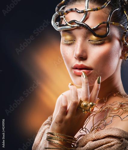Poster - Golden Makeup. Fashion Girl Portrait