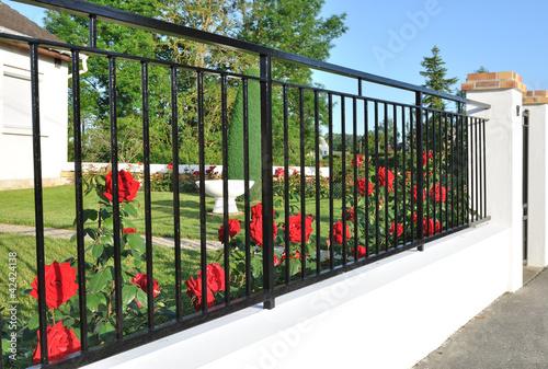 Fotografía  clôture fleurie de rosiers