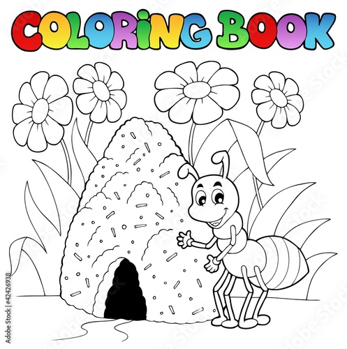 Spoed Foto op Canvas Doe het zelf Coloring book ant near anthill