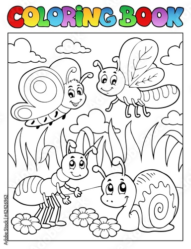 Spoed Foto op Canvas Doe het zelf Coloring book bugs theme image 3