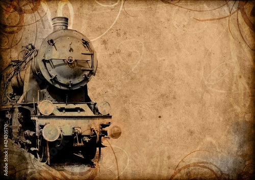 retro vintage technology, old train, grunge background Canvas Print
