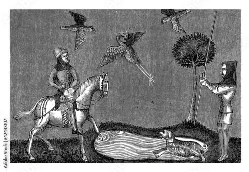 Medieval Scene : Hunting Birds - 14th century Canvas Print