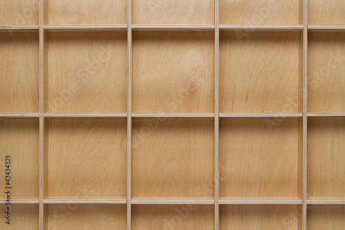 Poster Bibliotheque Close up of empty wooden shelf with copy space