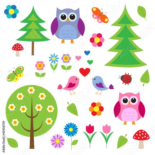 Birds,tress and owls Canvas Print