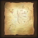 Treasure map on wooden background.