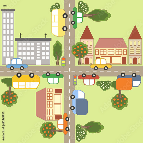 Tuinposter Op straat Cartoon town map.