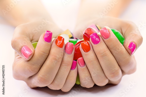 Fotobehang Manicure Candy in hands